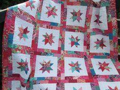 Twin Bed Quilt, Girl Quilt, Toddler Quilt, Teen Girl Quilt, Red Purple Aqua, Tula Pink Quilt, Amy Butler Quilt, Star Quilt by bellazahn on Etsy https://www.etsy.com/listing/541322053/twin-bed-quilt-girl-quilt-toddler-quilt