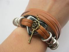 Braceletheart and key real leather braceletreal by Styleleader, $6.99