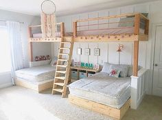 I love this room by messick It seriously makes me wish I could be a kid again! Well maybe just for the day! 🤔😂 These bunk beds are amazing and how adorable is that dream catcher h is part of Bunk bed rooms - Bed For Girls Room, Girl Room, Girls Bedroom, Bedroom Decor, Bedroom Ideas, Cute Beds For Girls, Cool Rooms For Kids, Bed For Kids, Bedroom For Kids
