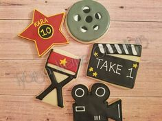 12 Movie Theme Sugar Cookies - Oscar Party Favors - Movie Premiere Cookies - Hollywood Sugar Cookies - Movie Theme Birthday Sugar Cookies