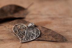 "Sterling Silver Filigree Pendant ""Free Heart"", Handmade Traditional Jewellery"