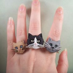 Kitty Ring your choice by thelovelyteaspoon on Etsy