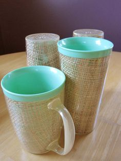 A Cup and Three Mint Green Thermal Rattan Enclosed by ZulasHouse.