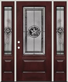 Texas Star 3/4 Lite Pre Finished Mahogany Fiberglass Prehung Door Unit With  Sidelites