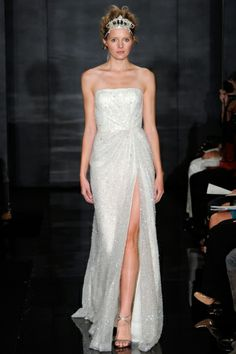 Reem Acra FW12  sexy high slit, not loving the crown though...