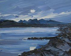 Oriel Kooywood Gallery Moon over Menai Cool Landscapes, Landscape Paintings, Mini Canvas Art, Acrylic Artwork, A Level Art, Elements Of Art, Texture Painting, Beach Art, New Artists