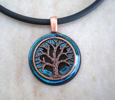 Mens Necklace Blue Brass  Mens Jewelry  Tree by MaddDoggofTomorrow, $30.00