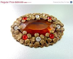 20% OFF - HUGE SALE Vintage Czech Amber Glass Brooch with orange and clear rhinestones.Vintage Brooches.(Sale) on Etsy, $16.00