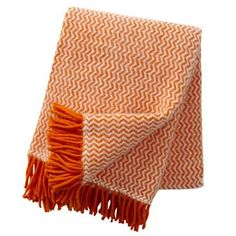 Tango ullpläd - orange-vit - Klippan Yllefabrik
