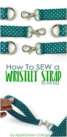 Sewing Craft How to add a DIY wristlet strap to any bag you already have. Transform any zipper pouch into a grab-and-go clutch, using this easy beginner sewing tutorial. - Make a detachable wristlet strap using this free sewing tutorial. Easy Sewing Projects, Sewing Projects For Beginners, Sewing Hacks, Sewing Tutorials, Sewing Crafts, Sewing Tips, Sewing Ideas, Diy Knitting Project Bag, Beginners Quilt