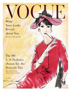 Vogue Cover - April 1958 Giclee Print by René R. Bouché at Art.com