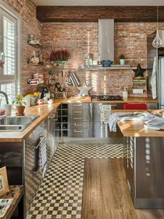 revetement mural de cuisine en habillage mural brique rouge