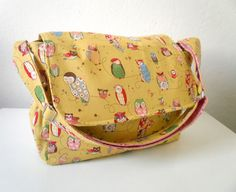 Adjustable Diaper Bag Set Spotted Owls in Green by BarnofColors, $80.00