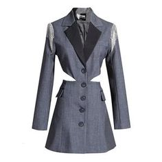 For Sale - 2020 Big Brand Quality Waist Cutout Suit Shoulder Metal Tassel Fake Two Coats Notched Single Breasted Women Jackets and Coats Blazers For Women, Coats For Women, Jackets For Women, Clothes For Women, Women Blazer, Types Of Jackets, Blazer Dress, Dress Pants, Blazer Jacket