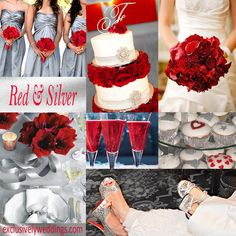 Red and Silver Wedding Colors-if i get the blingy dress, this may be my wedding colors. i would love some sort of printed bridesmaids dresses and maybe a little more silver than red. Red Silver Wedding, Silver Wedding Colours, Wedding Color Schemes, Silver Weddings, Crystal Wedding, Colour Schemes, Wedding Themes, Wedding Dresses, Wedding Cakes