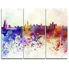 DesignArt Chicago Skyline - 3 Piece Graphic Art on Wrapped Canvas Set