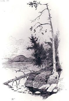 Untitled by Frederic Remington Art Museum, via Flickr Landscape Sketch, Landscape Drawings, Landscape Art, Landscape Paintings, Landscapes, Frederic Remington, Nature Sketch, Art Drawings Beautiful, Pencil Art Drawings