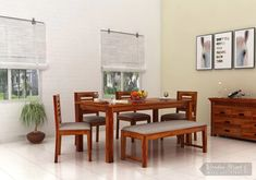 6f2754e39 Buy Janet 6 Seater Dining Table Set With Bench (Honey Finish) Online in  India - Wooden Street
