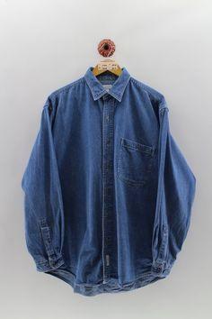 Denim Button Up, Button Up Shirts, Vintage Jerseys, 80s Style, Union Made, Used Clothing, 80s Fashion, American, Denim Shirt