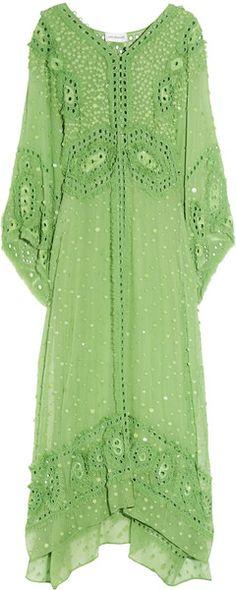 Emilio Pucci Embellished Silkgeorgette Maxi Kaftan in Green