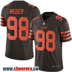 Men's Cleveland Browns #98 Jamie Meder Brown 2016 Color Rush Stitched NFL Nike Limited Jersey