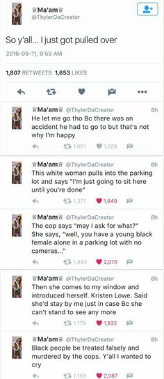Black woman gets pulled over, a white woman stops and waits until the officer is done. Black lives matter. Blacklivesmatter. Women looking after women.