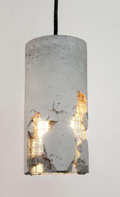 LJ Lamp δ - moderne Hängeleuchte aus Beton mit Textilkabel