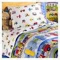 Trains Airplanes Fire Trucks Toddler Boy Bedding 4pc Comforter Set Bed in a Bag by Olive Kids