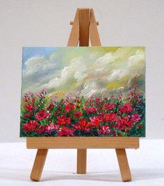 Field Of Poppies 3x4 original miniature floral by valdasfineart