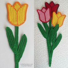 044 Tulip bookmark or decor Amigurumi crochet pattern. #LittleOwlsHut, #Flower, #Zabelina, #Amigurumi, #CrochetPattern, #DIY, #Bookmark