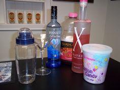 The Best Cotton Candy Martini Recipe: 1 1/2 oz vodka, 1/2 oz x & 1 oz juice