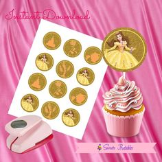 """Belle and the Beast Cupcake Toppers,Belle and Beast Gift tags,Belle and Beast Instant Download, Belle Party Favor, Printable Labels, 2""""inch"""