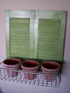Shutters and window box, looks like a great indoor herb garden to me! Shutters and window box, looks Window Planters, Window Boxes, Old Shutters, Window Shutters, Basement Windows, Herbs Indoors, Herb Garden, Indoor Plants, Indoor Garden