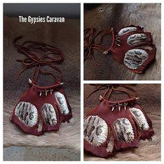 Gypsy tribal Elk leather choker necklace with by thegypsiescaravan, $150.00