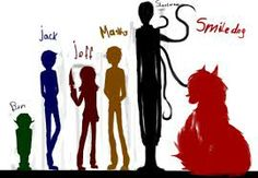 Figures from left to right: Ben Drowned, Eyeless Jack, Jeff The Killer, Masky, Slenderman and Smiledog