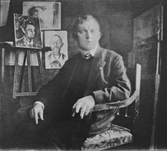Edvard Munch in his studio, 1908/09