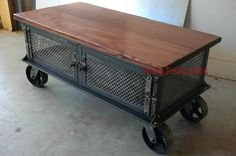 Ellis Coffee Table / Vintage Industrial Flat Panel Tv Stand On Casters