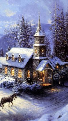 Old fashioned Christmas scene