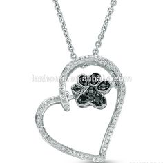 Hot Sell 925 Sterling Silver Jewelry Dog Paw in Heart Pendant Necklace