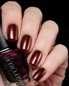 Colors by Llarowe Burning Embers - Fall 2014 Collection  |  Sassy Shelly   Burning Embers is a deep magenta with dense copper shimmer and a red, brown, gold shift that even shows greens at extreme angles.