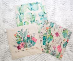 Set of 3 pillow cases in a fun and vibrant cactus print. Flowers and feathers add a boho feel. Each pillow case measures 16x16 inches and has a zipper closure. They are made of a nice canvas material that will hold up well. Get an 18x18 version here: https://hudson-baby-company.myshopify.com/products/copy-of-succulent-