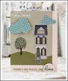 There's No Place Like Home stamp card green blue