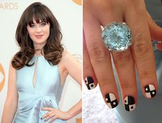 New Girl star Zooey Deschanel matched a large diamond and light blue tourmaline right hand ring with an ice blue J. Mendel gown. #emmysjewelry