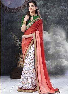 Wholesale Brown & Beige Georgette Lace Work Saree  Buy full Catalog @ http://www.wholesalesalwar.com/sarees?catalog=vogue-1563
