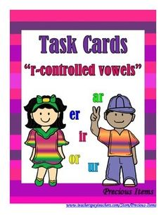 Students will complete the task cards on r-controlled vowel pictures by writing the word for each picture.  The task cards can be used as a review.  Place the cards in your literacy stations so students can work independently.  There are 32 task cards, plus a cover and a direction card.r-controlled pictures include:r-controlled vowel a:  star, car, farm, shark, barn, bark, barr-controlled vowel e:  herd, fern, germs, perch, bakerr-controlled vowel i:  bird, dirt, shirt, stir, ...