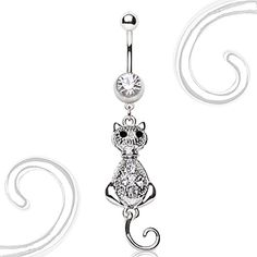 316L Surgical Steel Navel Ring with Cat Dangle #BellyRing #Cat #Cats #CatBellyRing #BodyMod #BodyModification #Piercings