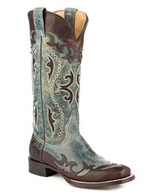 Loving this Brown & Blue Jean Crater Vamp Leather Cowboy Boot on #zulily! #zulilyfinds