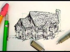 Pen and Ink Drawing Tutorials | How to draw a house - YouTube-This guy has a lot of excellent drawing tutorial videos