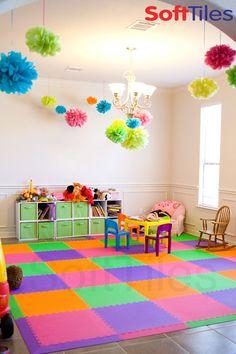 A beautiful playroom using Purple, Orange, Lime, and Pink SoftTiles 2x2 Interlocking Foam Mats.