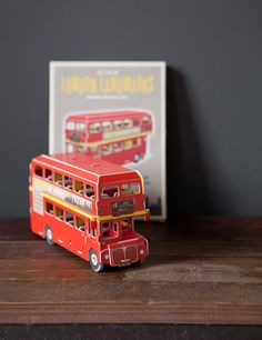 This cardboard kit contains 66 pieces that you can turn into the iconic red London routemaster double decker bus.  Easy to assemble foam-card model set, which requires no tools.